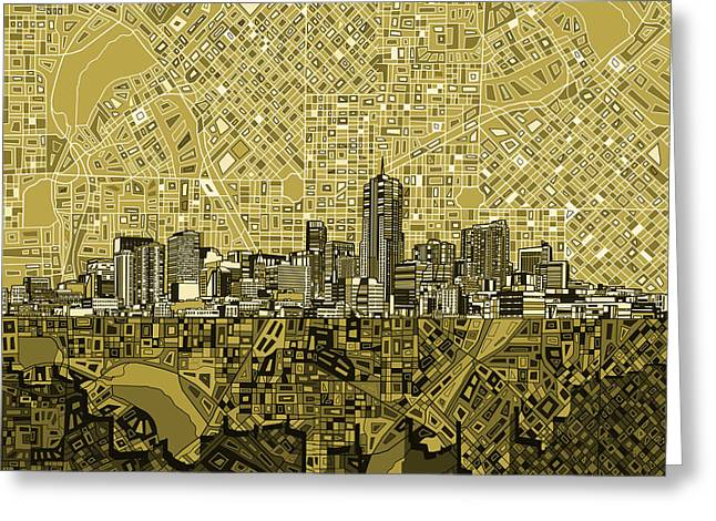 Colorado Posters Greeting Cards - Denver Skyline Abstract 8 Greeting Card by MB Art factory
