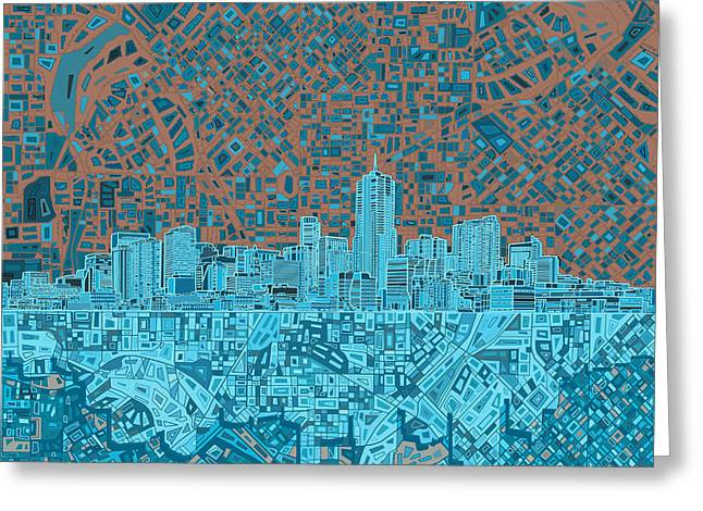 Colorado Posters Greeting Cards - Denver Skyline Abstract Greeting Card by MB Art factory