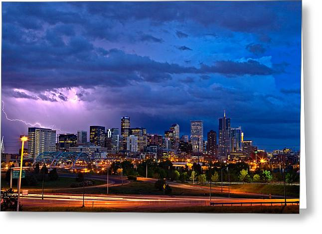 Long Exposure Greeting Cards - Denver Skyline Greeting Card by John K Sampson