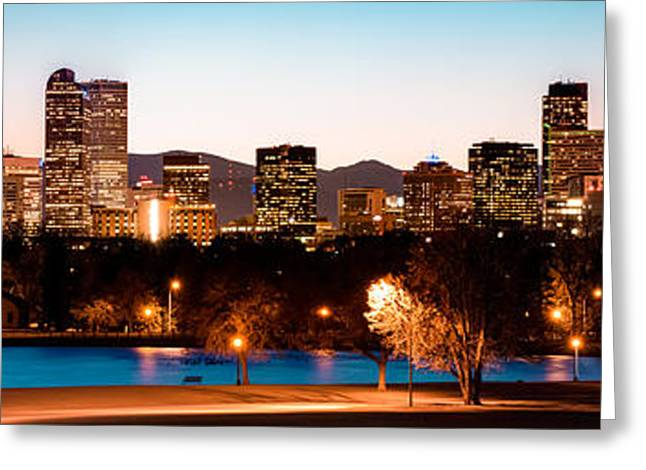 Pond In Park Greeting Cards - Denver Skyline Panorama City Park Greeting Card by Gregory Ballos