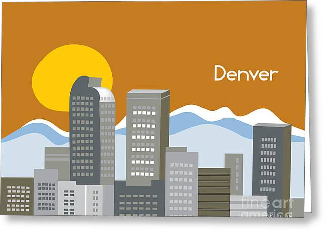 Rocky Mountain Posters Greeting Cards - Denver Skyline Print Greeting Card by Karen Young