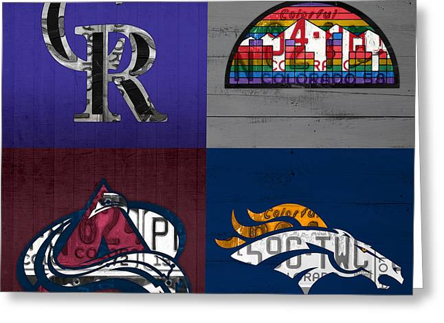 Broncos Greeting Cards - Denver Sports Fan Recycled Vintage Colorado License Plate Art Rockies Nuggets Avalanche Broncos Greeting Card by Design Turnpike