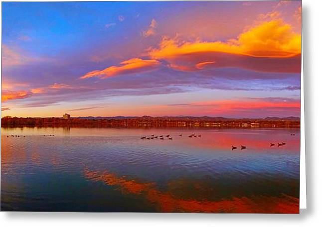 Moonrise Greeting Cards - Denver Sunrise Greeting Card by Sean Kreck