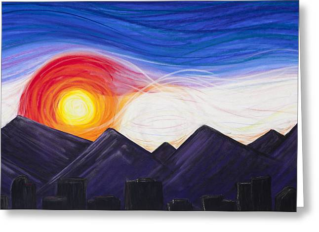 Skylines Pastels Greeting Cards - Denver Sunset Greeting Card by Dana Strotheide