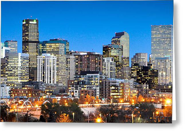 Panoramic Photographs Greeting Cards - Denver Twilight Greeting Card by Kevin Munro