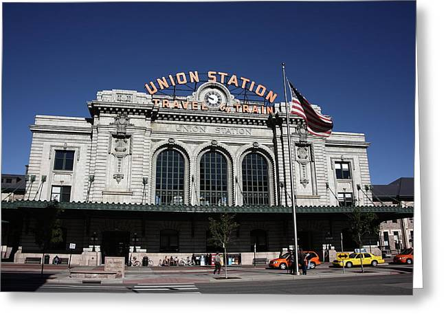 Classic American Railroad Greeting Cards - Denver - Union Station Greeting Card by Frank Romeo
