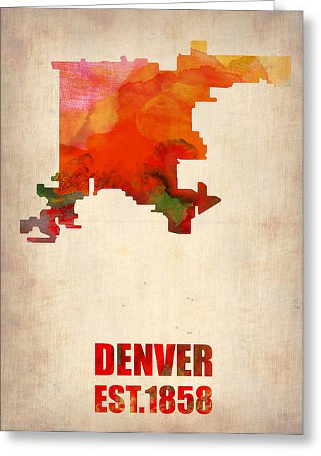Denver Greeting Cards - Denver Watercolor Map Greeting Card by Naxart Studio