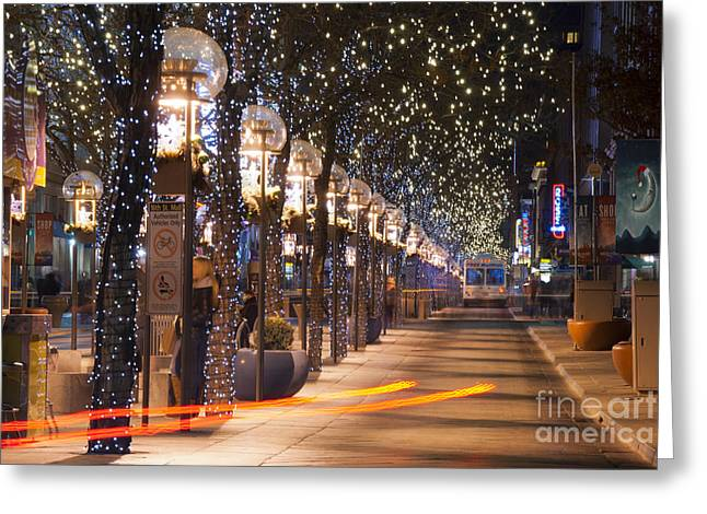 Winter Travel Greeting Cards - Denvers 16th Street Mall at Christmas Greeting Card by Juli Scalzi