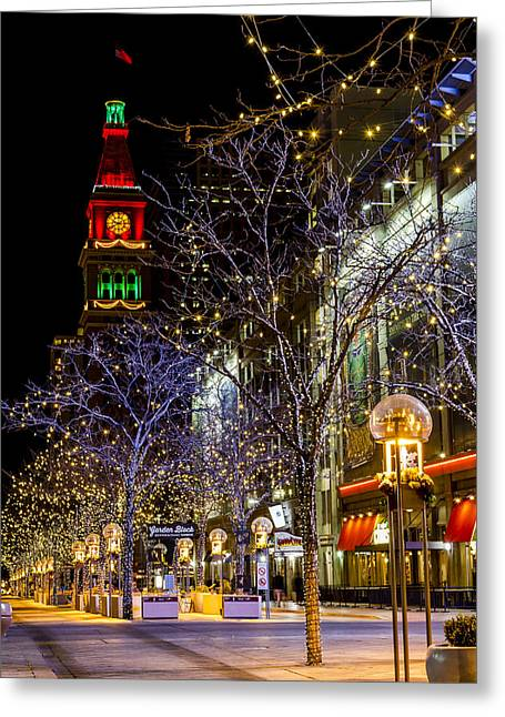 Denver's 16th Street Mall During Holidays Greeting Card by Teri Virbickis