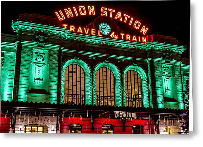 Winter In The City Greeting Cards - Denvers Union Station Greeting Card by Teri Virbickis