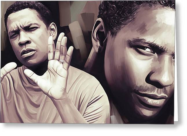 Celebrity Prints Greeting Cards - Denzel Washington Artwork Greeting Card by Sheraz A
