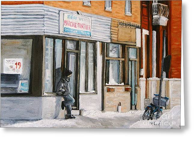 Quebec Scenes Greeting Cards - Depanneur Marche Fortier Verdun Greeting Card by Reb Frost