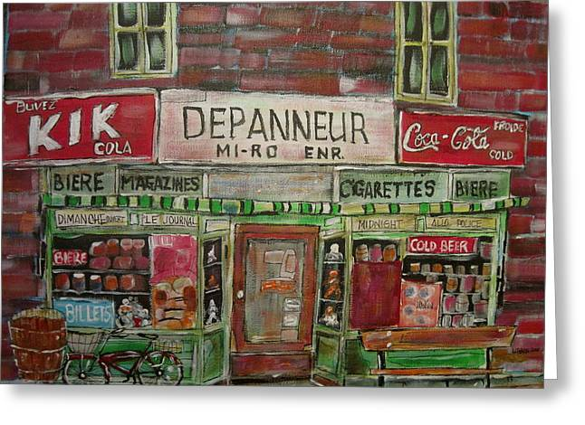 Michael Litvack Greeting Cards - Depanneur Mi-ro Greeting Card by Michael Litvack