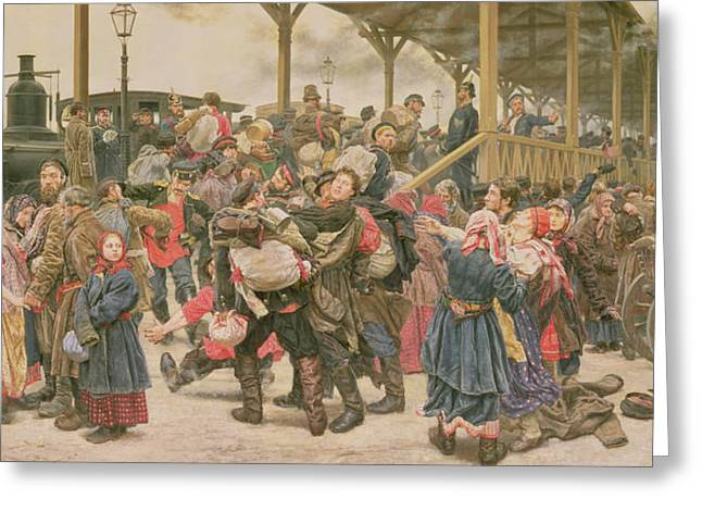 Troops Photographs Greeting Cards - Departing For The War, 1888 Oil On Canvas Greeting Card by Konstantin Apollonovich Savitsky