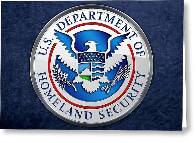Patch Greeting Cards - Department of Homeland Security - DHS Emblem on Blue Velvet Greeting Card by Serge Averbukh