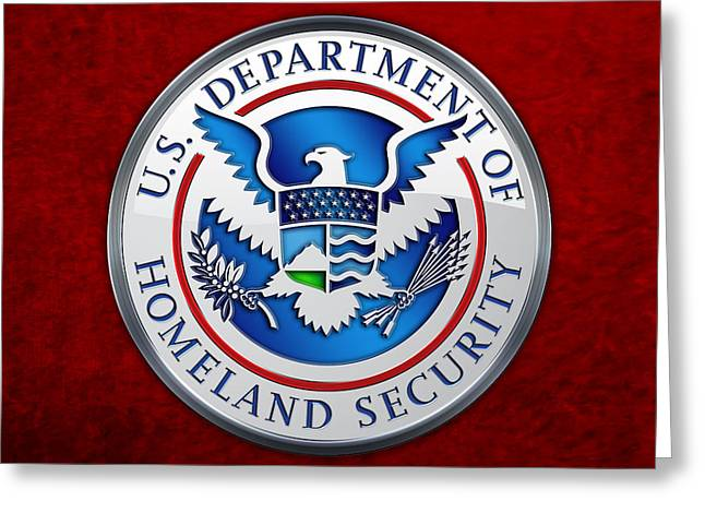 Militaria Greeting Cards - Department of Homeland Security - DHS Emblem on Red Velvet Greeting Card by Serge Averbukh