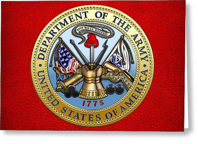 Patch Greeting Cards - Department of the U.S. Army Seal Greeting Card by Serge Averbukh