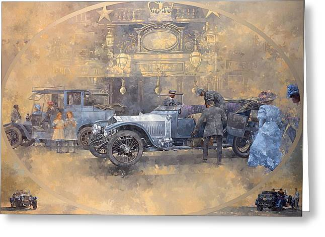 Automotive History Greeting Cards - Departure For Christmas Oil On Canvas Greeting Card by Peter Miller