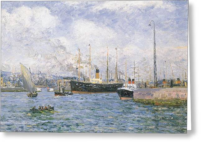 Docked Sailboats Greeting Cards - Departure from Havre Greeting Card by Maxime Emile Louis Maufra