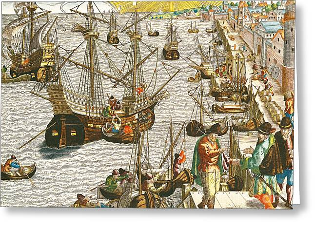 Harbour Wall Greeting Cards - Departure from Lisbon for Brazil Greeting Card by Theodore de Bry