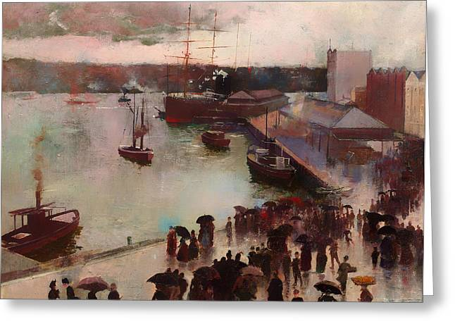 Historic Ship Greeting Cards - Departure of the Orient - Circular Quay Greeting Card by Charles Conder