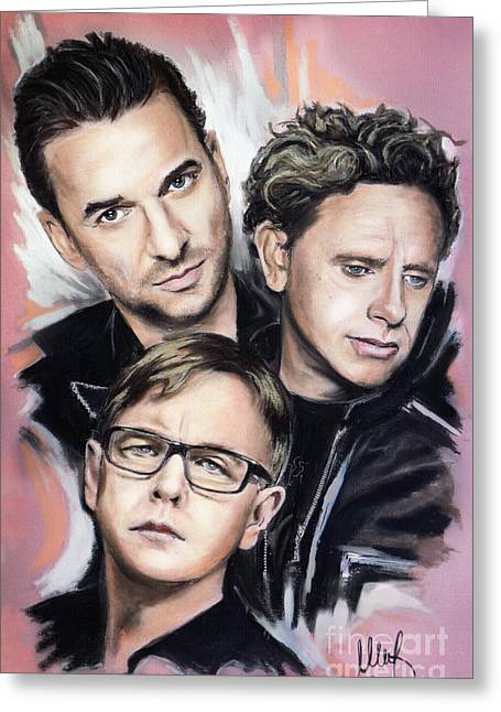 Dave Mixed Media Greeting Cards - Depeche Mode Greeting Card by Melanie D