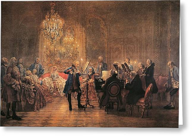 Concerto Greeting Cards - depicting a flute concert of Frederick the Great Greeting Card by Adolf von Menzel