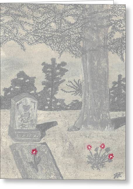 Daisies Pastels Greeting Cards - Depiction of a Greyscale Cemetery with Red Flowers Greeting Card by Jessica Foster
