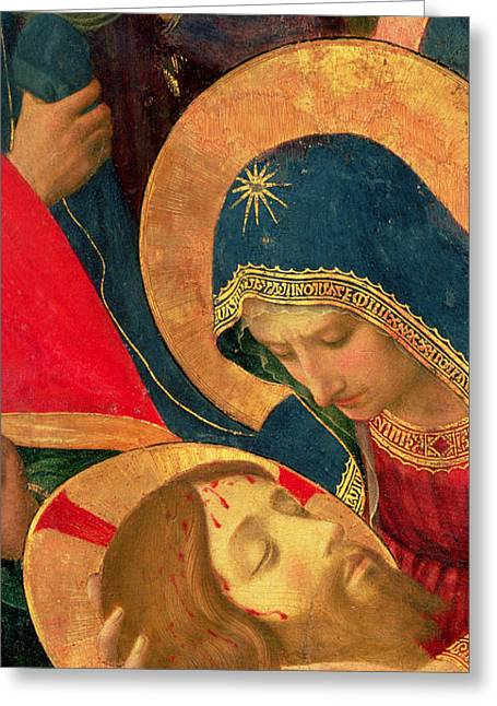 Bible Paintings Greeting Cards - Deposition from the Cross Greeting Card by Fra Angelico