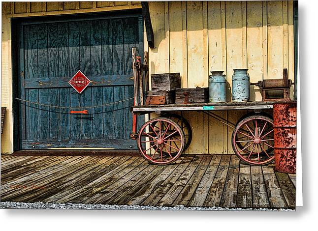 Huckleberry Railroad Greeting Cards - Depot Wagon Greeting Card by Kenny Francis