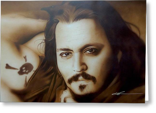 Johnny Depp - ' Depp II ' Greeting Card by Christian Chapman Art