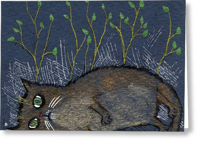 Depression Drawings Greeting Cards - Depressed Cat Greeting Card by Angel  Tarantella