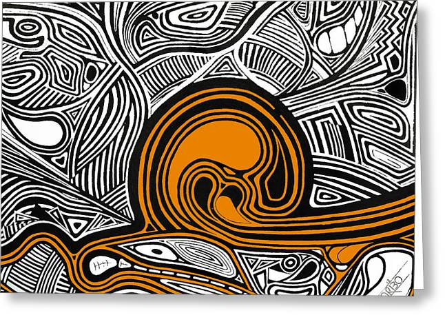 Black Greeting Cards - Depth1 Abstract Lines Orange Greeting Card by Andres Carbo