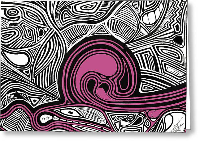 Trippy Greeting Cards - Depth1 Abstract Lines Pink Greeting Card by Andres Carbo