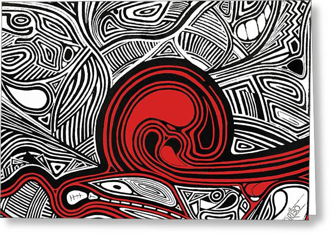 Trippy Greeting Cards - Depth1 Abstract Lines Red Greeting Card by Andres Carbo