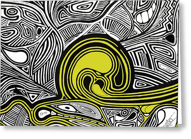 Black Greeting Cards - Depth1 Abstract Lines Yellow Greeting Card by Andres Carbo