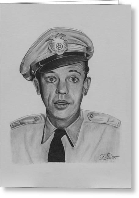 Don Knotts Greeting Cards - Deputy Barney Fife Greeting Card by Billy Burdette