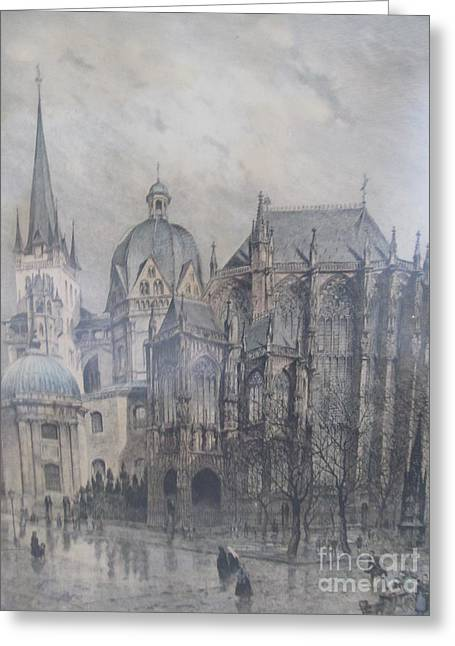 Urban Images Drawings Greeting Cards - Der Dom - Aachen Germany Greeting Card by Anthony Morretta
