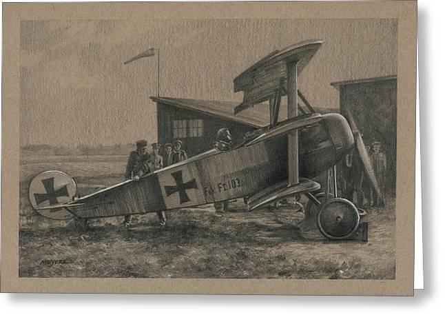 Aviator Drawings Greeting Cards - Der Junge Adler Greeting Card by Wade Meyers