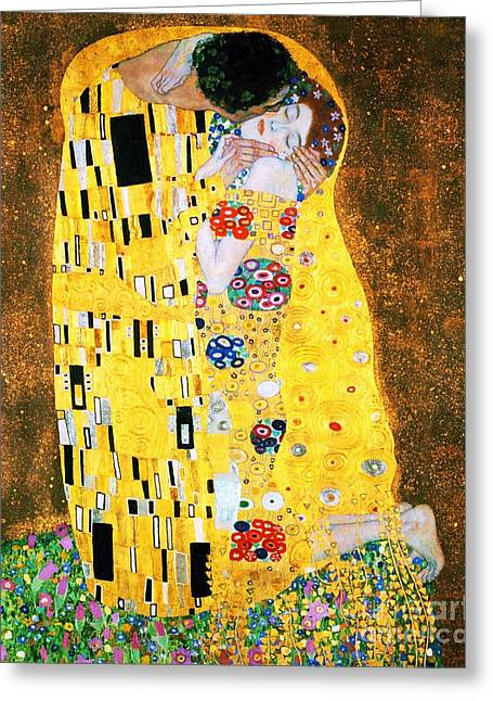 Kiss Greeting Cards - Der Kuss or The Kiss by Gustav Klimt Greeting Card by Pg Reproductions