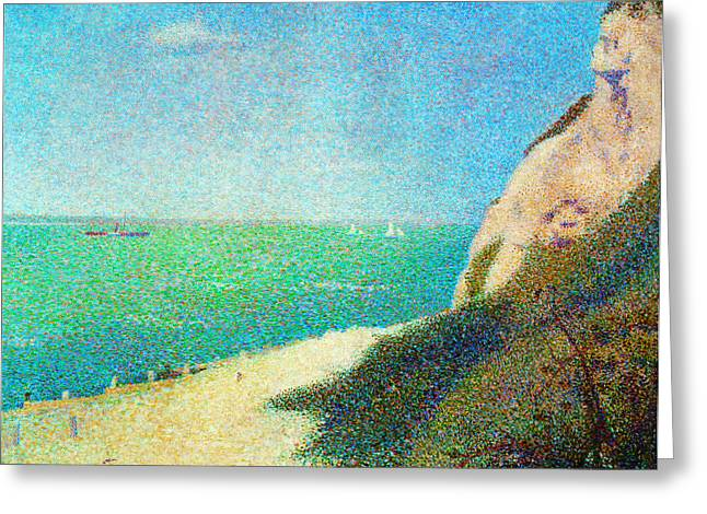 Seurat Greeting Cards - Der Strand Le Bas Butin bei Honfleur Greeting Card by Georges Seurat