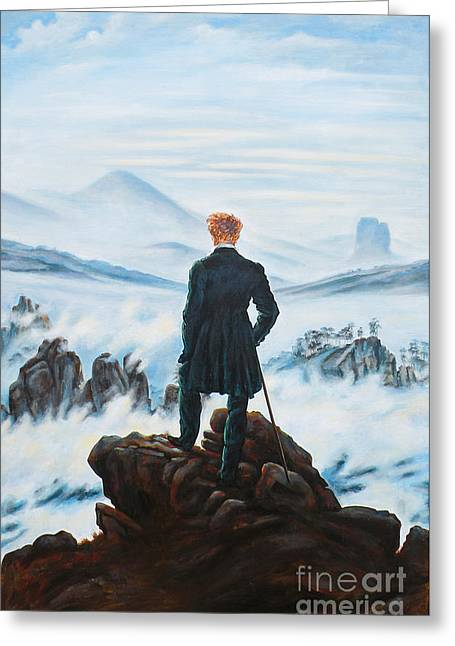 Travel Narratives Greeting Cards - The Wanderer above the Sea of Fog Greeting Card by Leigh Banks