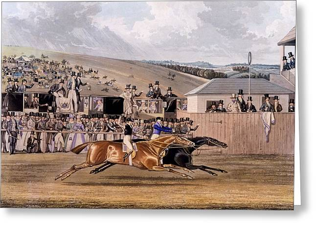 Race Horse Drawings Greeting Cards - Derby Day At Epsom, 1828 Greeting Card by James Pollard
