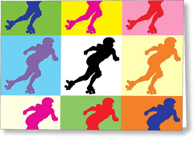 Roller Derby Greeting Cards - Derby Girl Pop Art Greeting Card by David G Paul