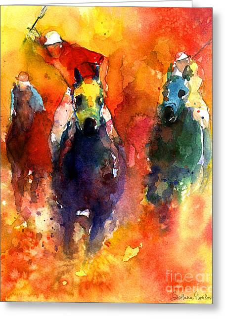 Horses Art Print Greeting Cards - Derby Horse race racing Greeting Card by Svetlana Novikova