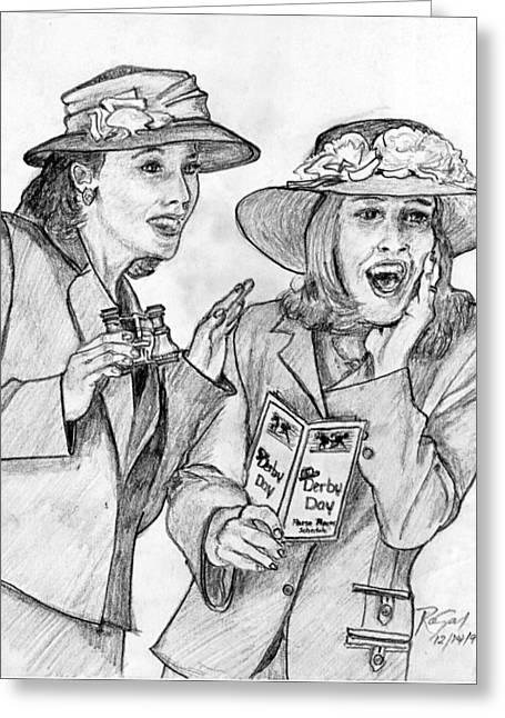Eyelash Drawings Greeting Cards - Derby Ladies Pencil Portrait Greeting Card by Romy Galicia