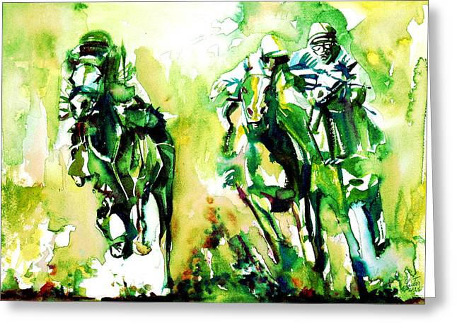 Horse Images Greeting Cards - Derby Race.1 Greeting Card by Fabrizio Cassetta