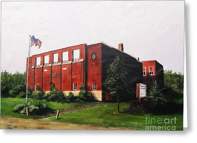 Brick Schools Paintings Greeting Cards - Derby School House In Derby Ohio Pickaway County  Greeting Card by Rita Miller