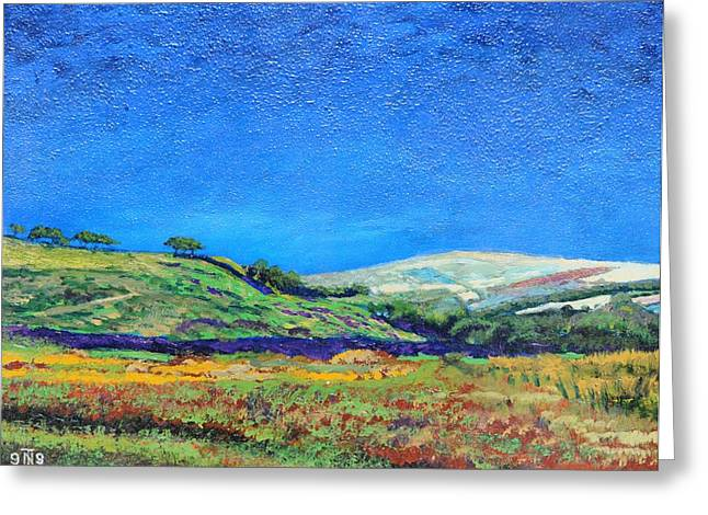 Rural Greeting Cards - Derbyshire Landscape, 1999 Oil On Board Greeting Card by Trevor Neal