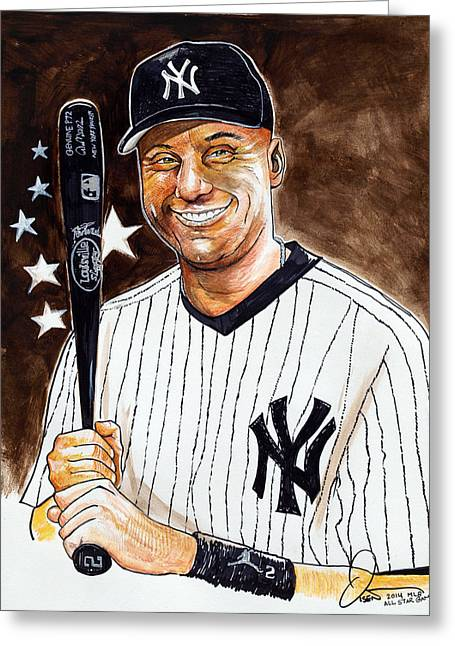 Fame Drawings Greeting Cards - Derek Jeter 2014 All Star Game Greeting Card by Dave Olsen